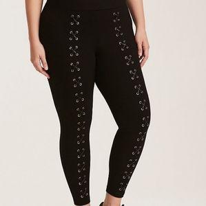 Torrid Luxe Lace Up Leggings In Black